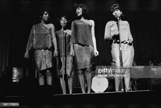 Female vocal group perform at the Apollo Theater in New York City, circa 1965.