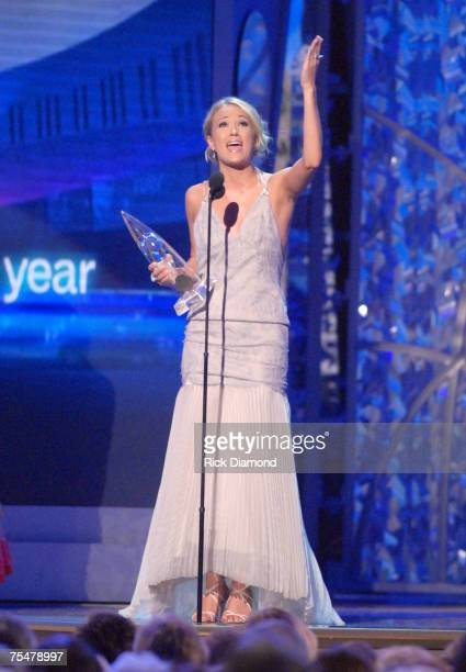 Female Vocalist of the Year Award Winner Carrie Underwood wearing The Kwiat Diamond Dress at the Gaylord Entertainment Center in Nashville Tennessee