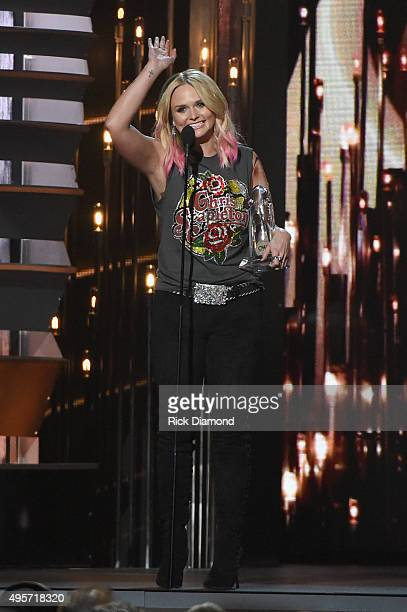 Female Vocalist of the Year Miranda Lambert receives award onstage at the 49th annual CMA Awards at the Bridgestone Arena on November 4 2015 in...