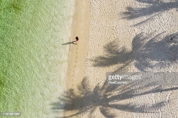 vrouwelijke wandelen langs perfect strand met palmen en helder water - spoor vorm stockfoto's en -beelden