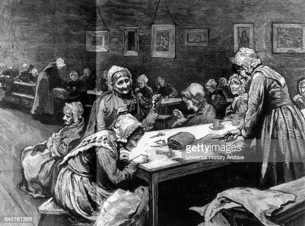 Female ward at the Westminster Union Old women sewing 1877