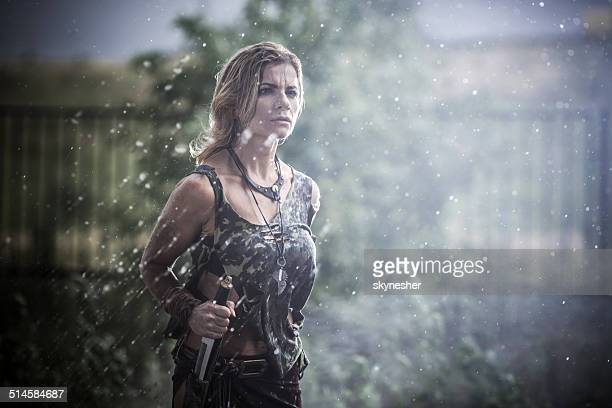 Female warrior at rain.
