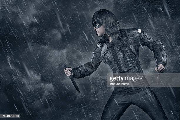 Female Warrior in bad weather