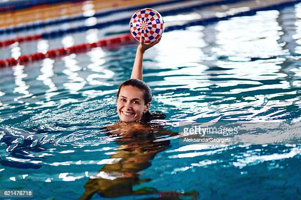 Female Water Polo Player at Indoor Swimming Pool