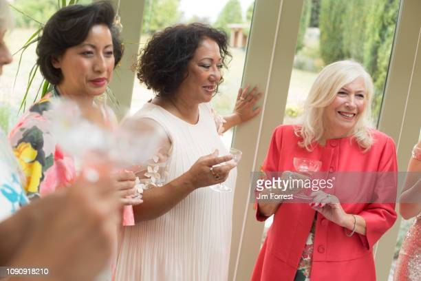 female wedding guests at reception - cocktail dress stock pictures, royalty-free photos & images