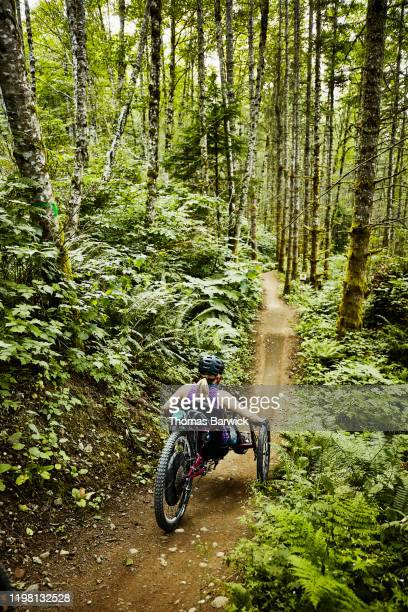 female wheelchair athlete descending on trail on adaptive mountain bike - forward athlete stock pictures, royalty-free photos & images