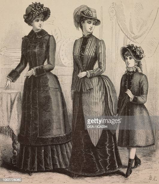 Female winter clothes a Drape paletot a velour and wool dress a paletot for an 810 yearold girl designs by Madame Coussinet engraving from La Mode...