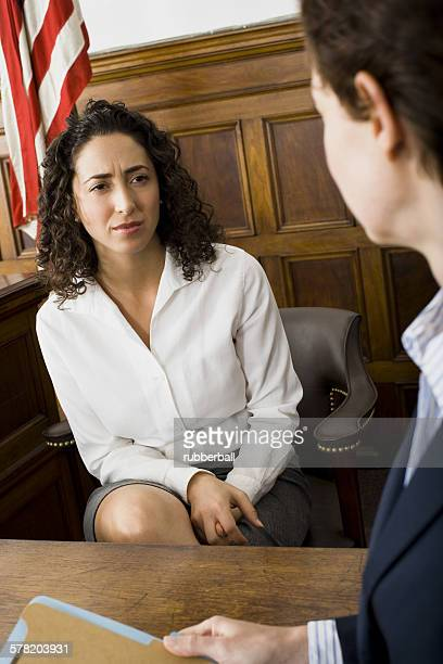 A female witness looking at a female lawyer
