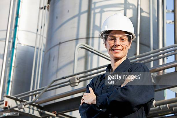 Female worker at an industrial plant