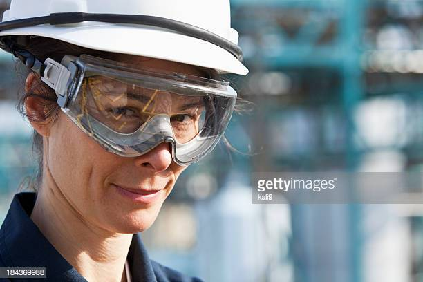 Female worker at industrial plant