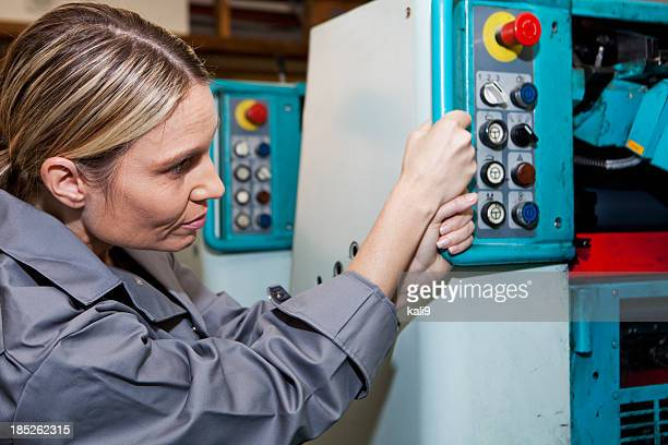 Female worker at printing plant