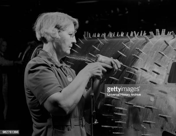 Female Worker Drilling Holes in B17F Heavy Bomber Boeing Seattle Washington USA Andreas Feininger for Office of War Information December 1942