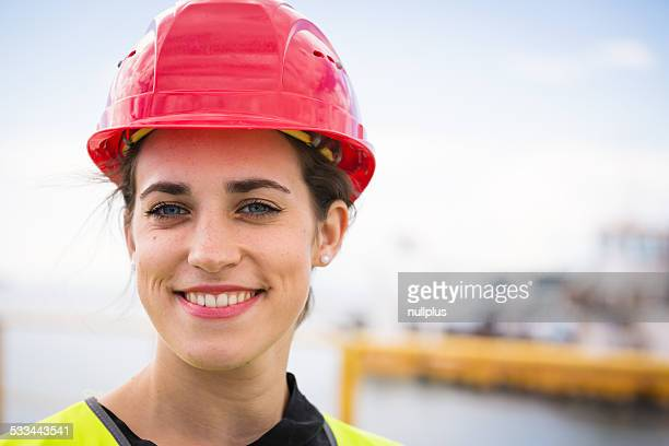 female worker in industrial port