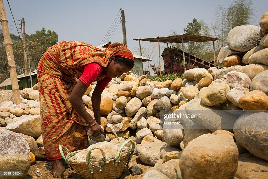 Stone Crashing in Sylhet, Bangladesh : News Photo