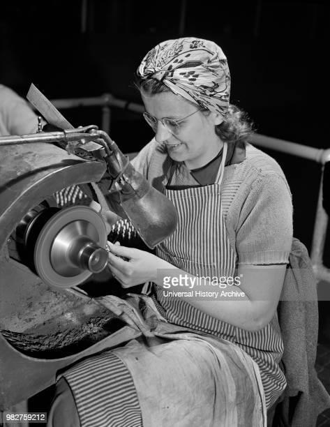 Female Worker Polishing Screws for Valve Rocker Arms of Airplane Engines on Gardner Machine at Manufacturing Plant Pratt Whitney East Hartford...