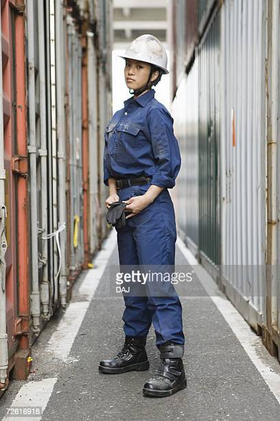 Female worker posing, Side View