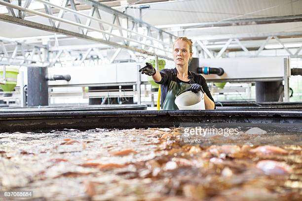 Female worker working in fish farm