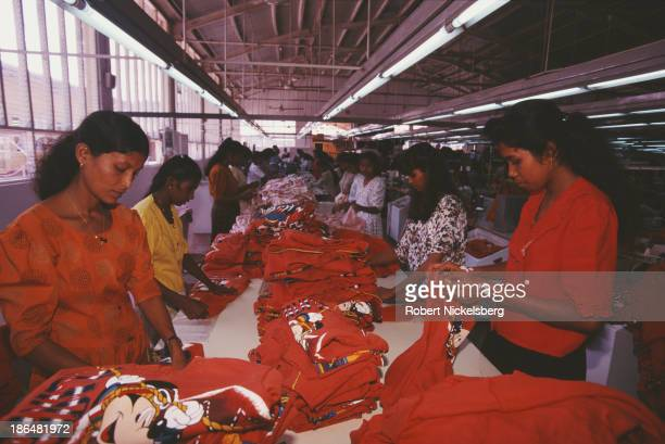 Female workers busy on the production line within a textile factory in Colombo Sri Lanka circa 1998