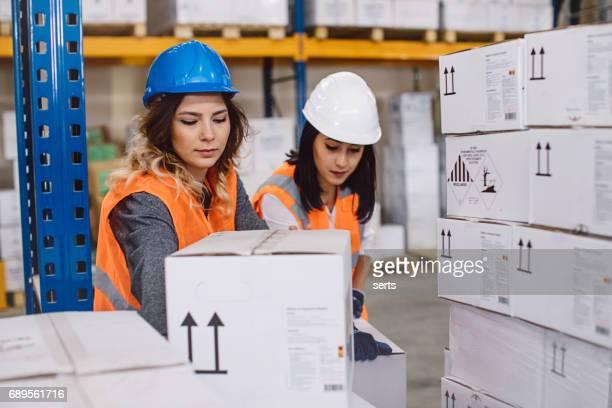 Arbeitnehmerinnen, die Montagelinie Qualitätskontrolle Qualitätskontrolle auf Paket im Lager zu tun