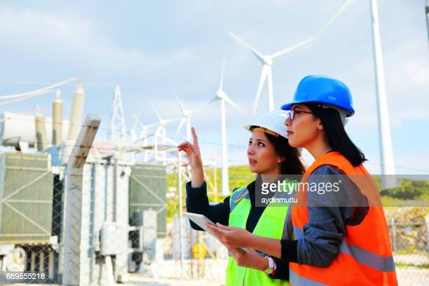 Female workers in a wind turbines farm