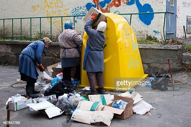 Female workers sorting recyclable waste in the Okhmatdyt children hospital in Kiev, Ukraine