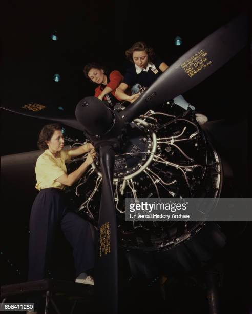 Female Workers Trained in Precise Aircraft Engine Installation Douglas Aircraft Company Long Beach California USA Alfred T Palmer for Office of War...