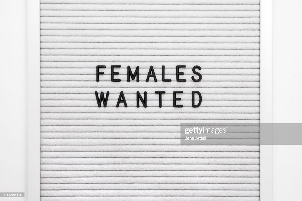 Females Wanted Letterboard Women At Work : Stock Photo