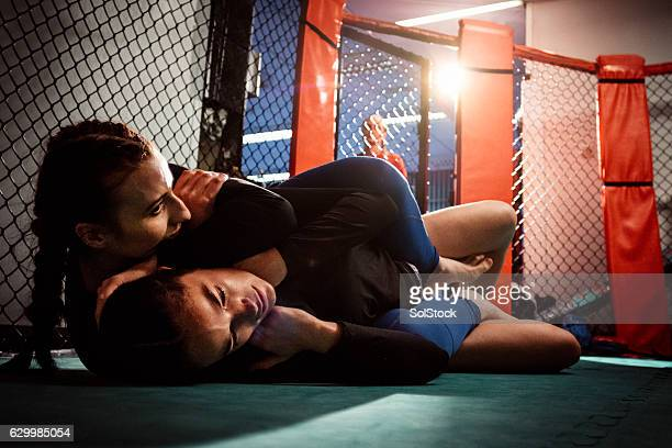 females wrestling on the canvas - mixed martial arts stockfoto's en -beelden