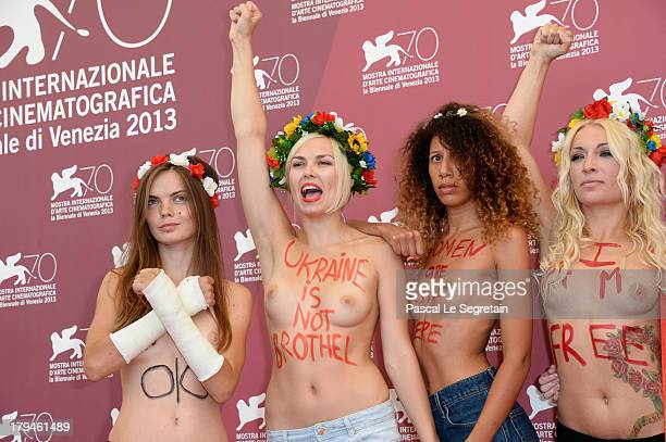 Femen activist Inna Shevchenko and activists attend 'Ukraine Is Not A Brothel' Photocall during the 70th Venice International Film Festival at...