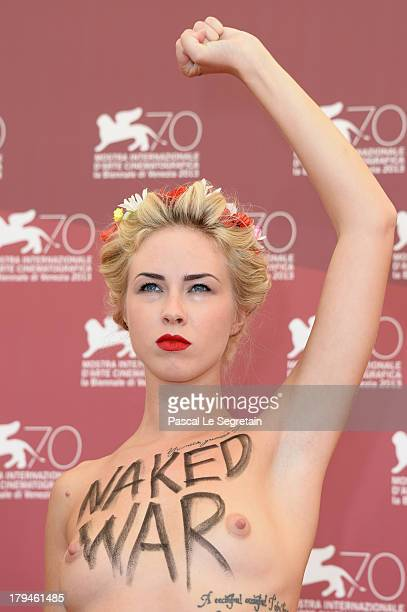 Femen activist Sasha Shevchenko attends 'Ukraine Is Not A Brothel' Photocall during the 70th Venice International Film Festival at Palazzo del Casino...