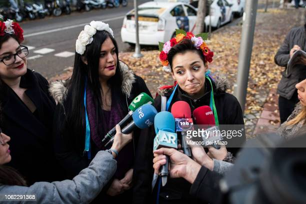 "Femen"" activist speaking to the press ahead of the beginning of a trial where two ""Femen"" activists are charged with religious offense. The action..."