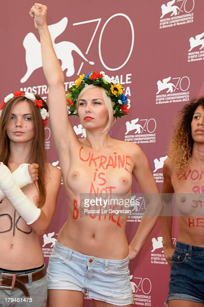 Femen activists attend 'Ukraine Is Not A Brothel' Photocall during the 70th Venice International Film Festival at Palazzo del Casino on September 4,...