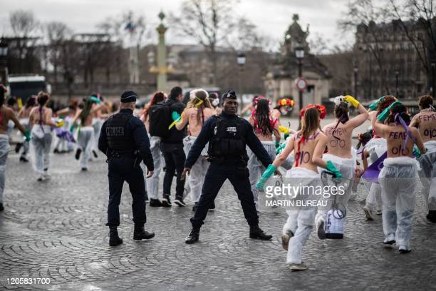 Femen activists demonstrate at place de la Concorde in Paris on March 8 to call for gender equality on the International Women's day