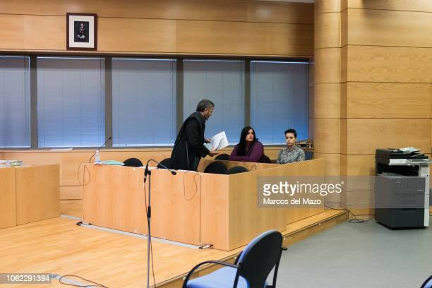 Femen activists inside the courtroom ahead of the beginning of a trial where two Femen activists are charged with religious offense The action took...