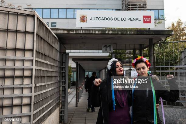 Femen activists posing for the press ahead of the beginning of a trial where two Femen activists are charged with religious offense The action took...