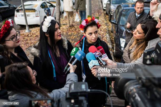 Femen activists speaking to the press ahead of the beginning of a trial where two Femen activists are charged with religious offense The action took...