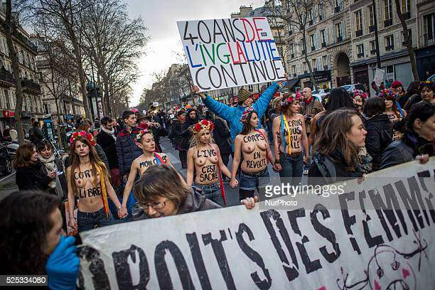 Femen during a demonstration in Paris on January 17 2015 to defend women's rights to improve access to abortion and to mark the 40th anniversary of...