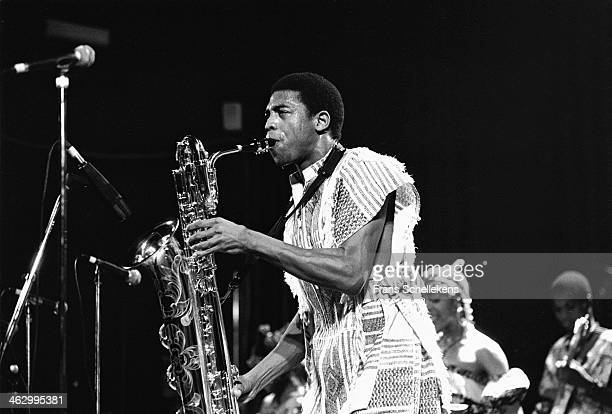 Femi Kuti, baritone sax-vocal, performs with Positive forces at Tivoli on12th December 1989 in Utrecht, the Netherlands.