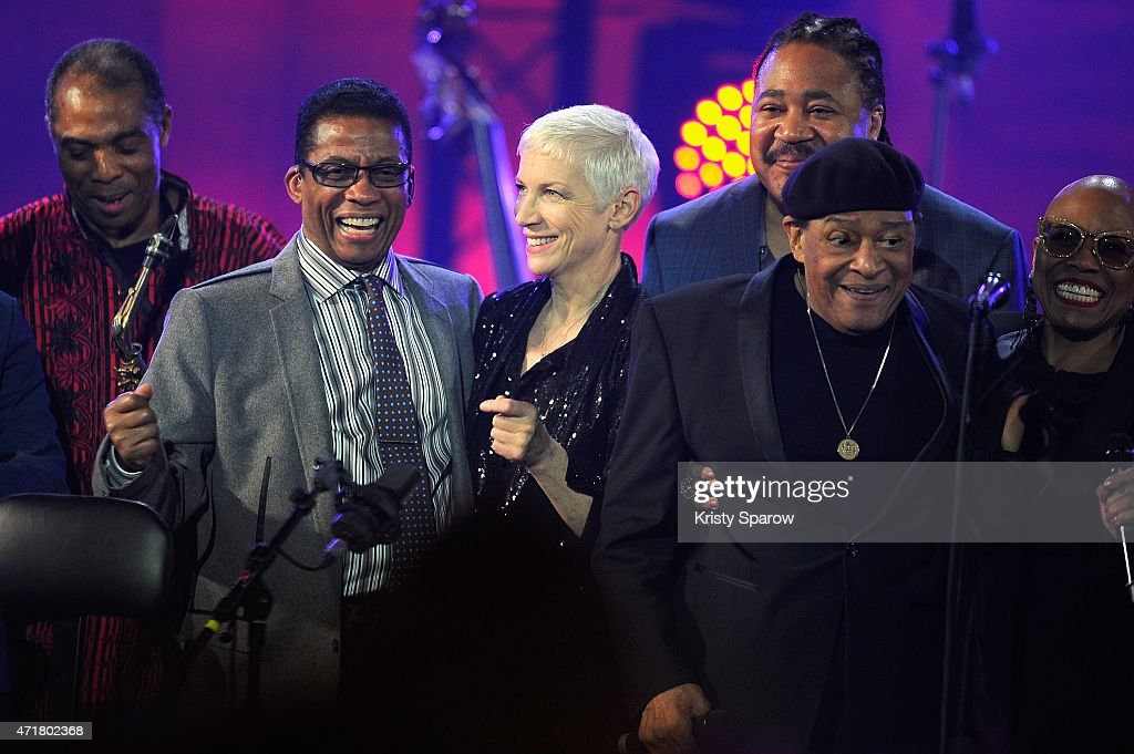 Femi Kuti, UNESCO Goodwill Ambassador, Herbie Hancock, Annie Lennox, James Genus, Al Jarreau, and Dee Dee Bridgewater pose on stage during the finale of the International Jazz Day 2015 Global Concert at UNESCO on April 30, 2015 in Paris, France.