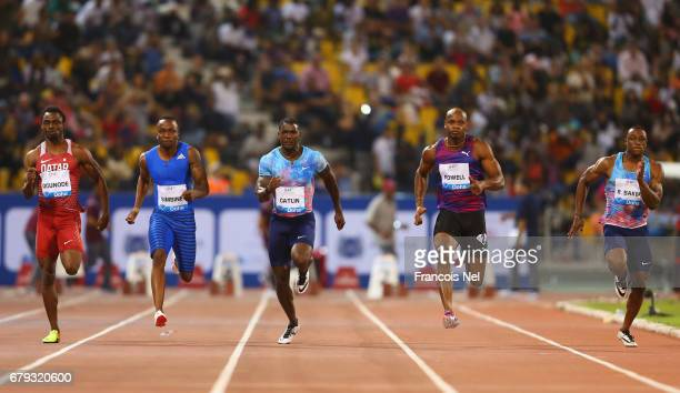 Femi Ogunode of Qatar Akani Simbine of South Africa Justin Gatlin of the United States Asafa Powell of Jamaica and Ronnie Baker of the United States...