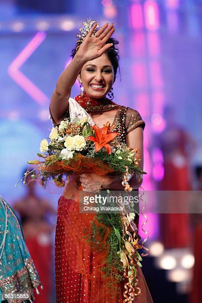 Femina Miss India World Pooja Chopra poses at the Pantaloons Femina Miss  India 2009 contest held