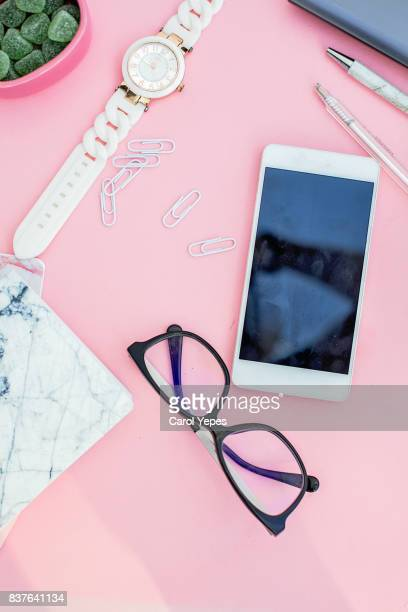 feminine desktop workspace in pink