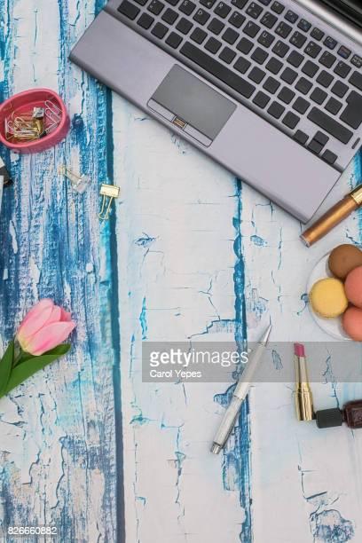 feminine desktop workspace vertical