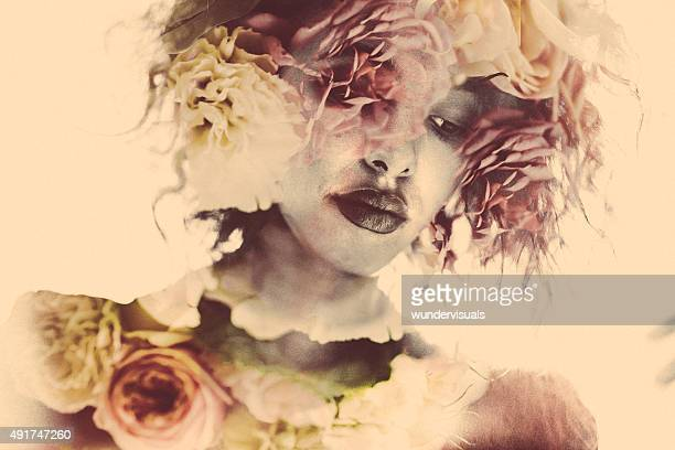 feminine double exposure image of a woman and soft flowers - black rose stock pictures, royalty-free photos & images