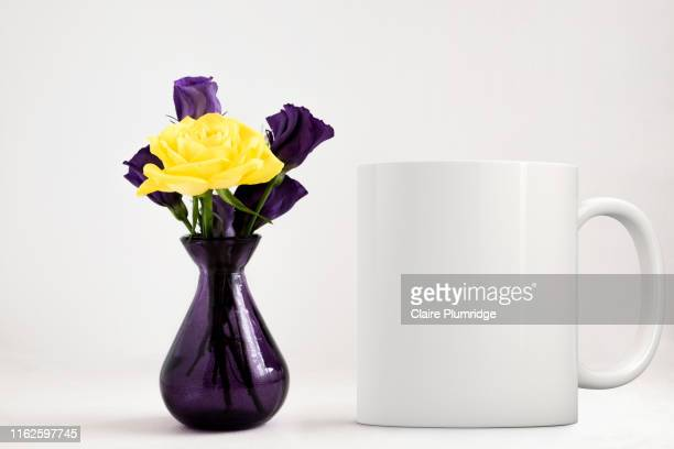 feminine floral white mug mockup. perfect for businesses selling mugs, just overlay your quote or design on to the image. - mug stock pictures, royalty-free photos & images