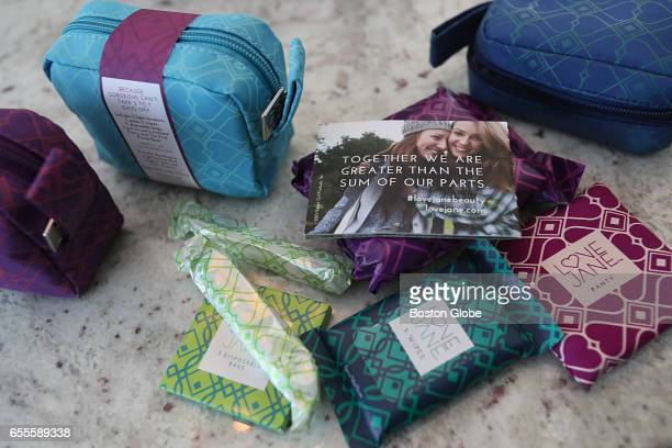 Feminine products for sale by Helen Walsh's company LoveJane are pictured in Milton MA on Feb 21 2017 Walsh with her daughters Clodagh and Maeve is a...