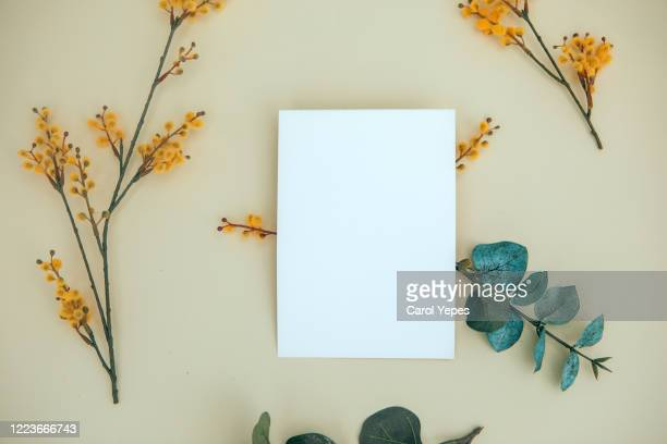 feminine wedding desktop mock-up with blank paper card and yellow flowers - greeting card stock pictures, royalty-free photos & images