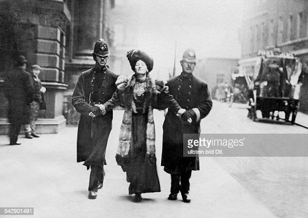 Feminism demonstration for women's voting rights in London Suffragette discharged by the police Published by 'Berliner Illustrirte Zeitung' 12/1906...