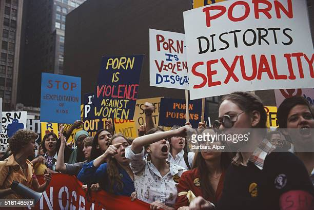 Feminist activists of the Women Against Pornography group in a protest 'March On Times Square' in New York City 20th October 1979