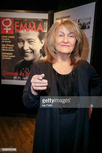 Feminist Alice Schwarzer wax figure seen during the 'VIP 90's Let's Glow' Opening Party at Madame Tussauds on March 27 2018 in Berlin Germany